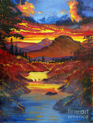 Blue Mountains Red Painting - Sunset In The Valley by David Lloyd Glover