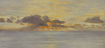 Reflecting Sunset Painting - Sunset by John Brett