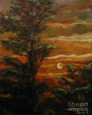 Art Print featuring the painting Sunset  by Karen  Ferrand Carroll