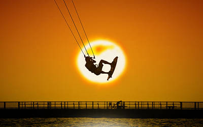 Sunset Kite Boarder Art Print by Moments In 3 X 4
