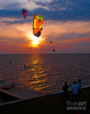 Sunset Kiteboarding On The Pamlico Sound Art Print by Anne Kitzman