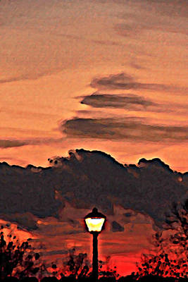 Photograph - Sunset Lamp Post by Greg Sharpe