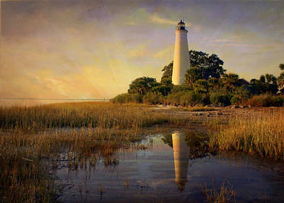 Sunset Lighthouse 3 Art Print by Marty Koch