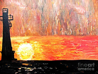 Art Print featuring the painting Sunset Lighthouse by Ayasha Loya