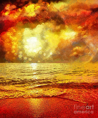 Warm Digital Art - Sunset by Mo T