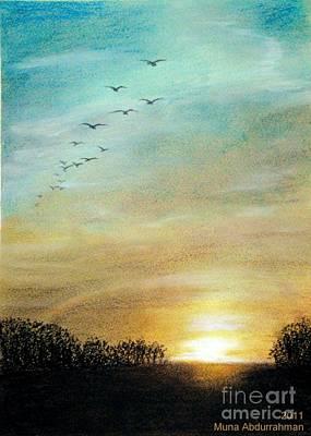 Sunset Art Print by Muna Abdurrahman