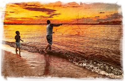 Jupiter Inlet Photograph - Sunset Netcasting by Debra and Dave Vanderlaan
