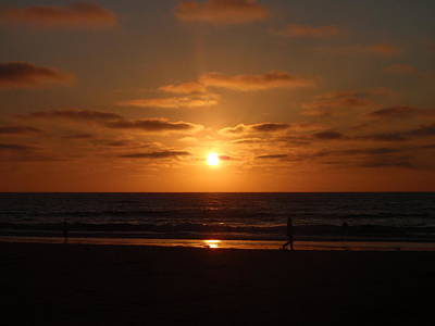 Sunset On A Beach In San Diego Ca Art Print by Brittany Roth