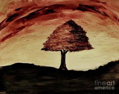 Burnt Digital Art - Sunset On A Lonely Tree by Marsha Heiken