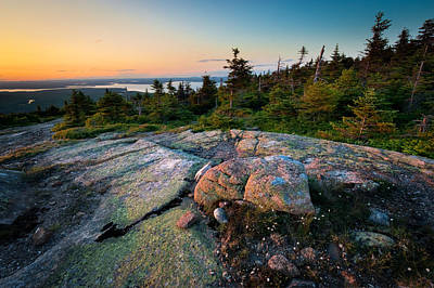 Photograph - Sunset On Cadillac Mountain by Bernard Chen