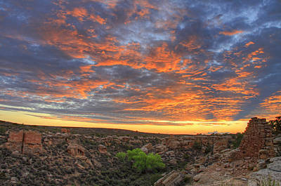 Y120831 Photograph - Sunset On Puebloan Ruins In Hovenweep by Matt Champlin