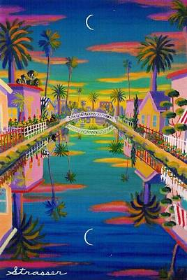 Painting - Sunset On Retro Canal by Frank Strasser