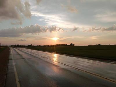 Sunset On Shiny Highway Art Print