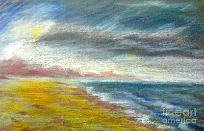 Pastel - Sunset On St. George Beach by Gretchen Allen