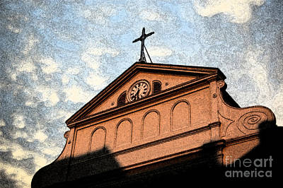 Landmarks Digital Art - Sunset On St Louis Cathedral In Jackson Square French Quarter New Orleans Fresco Digital Art by Shawn O'Brien