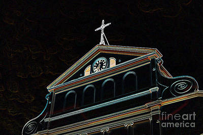 Digital Art - Sunset On St Louis Cathedral In Jackson Square French Quarter New Orleans Glowing Edges Digital Art by Shawn O'Brien