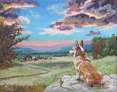 Painting - Sunset On The Corgi Farm by Ann Becker