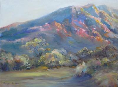 Art Print featuring the painting Sunset On The Mountains by Bonnie Goedecke