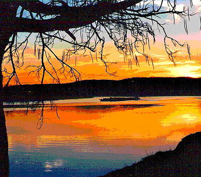 Impressionist Style Photograph - Sunset On The Ohio River by Padre Art