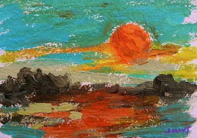Jmwportfolio Drawing - Sunset On The Rocks by John Williams