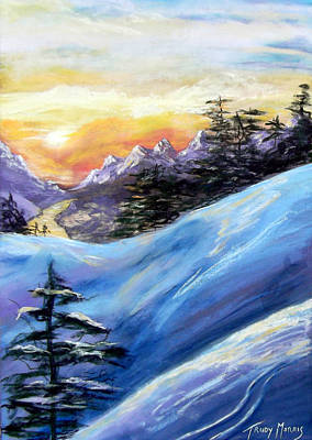 Sunset On The Snow Art Print by Trudy Morris