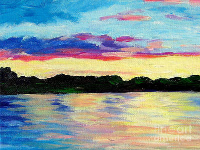 Sunset On Thornapple River Art Print by Lisa Dionne