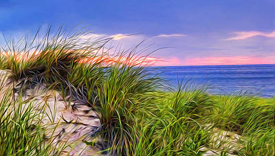 Cape Cod Painting - Sunset On Wellfleet Dunes by Tammy Wetzel