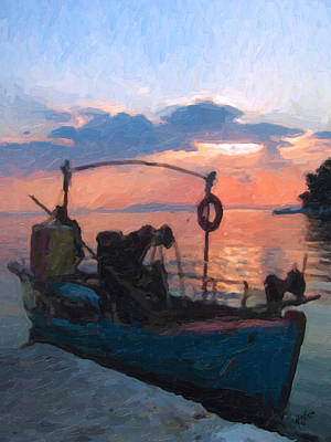 Boat Painting - Sunset Over Afissos by Nop Briex
