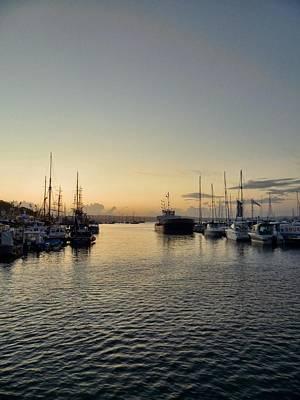 Angling Photograph - Sunset Over Brixham Harbor by Sharon Lisa Clarke