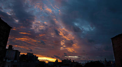 Abstract Airplane Art - Sunset over Brooklyn Post Irene by Julie VanDore