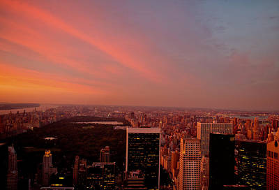 Sunset Over Central Park And The New York City Skyline Art Print by Vivienne Gucwa
