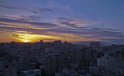 Sunset Over City Art Print