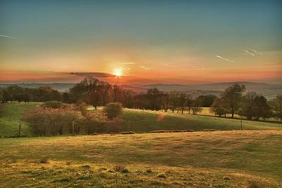 Autumn Landscape Photograph - Sunset Over Countryside by Verity E. Milligan