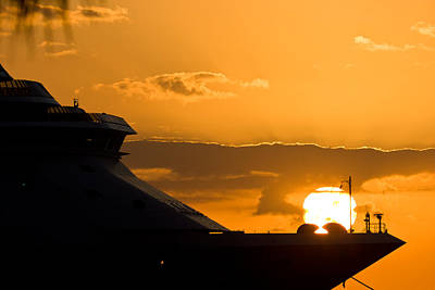 Photograph - Sunset Over Cruise Ship by Ed Gleichman