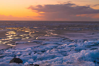 Markermeer Photograph - Sunset Over Frozen Sea by Boyan Nedkov