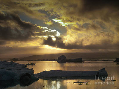 Photograph - Sunset Over Ice Lagoon by Michael Canning