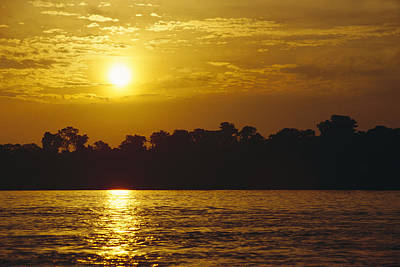 Amazon River Photograph - Sunset Over Lowland Tropical Rainforest by Gerry Ellis