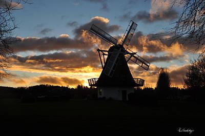 Sunset Over Oak Harbor Windmill Art Print by Pam Headridge