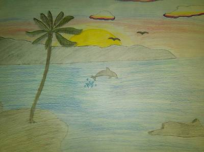 Beach Sunset Drawing - Sunset Over The Ocean by Kris Halvorson