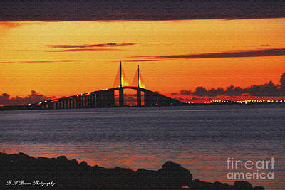 Photograph - Sunset Over The Skyway Textured by Barbara Bowen