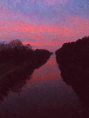 Briex Digital Art - Sunset Over The Wilhelmina Canal by Nop Briex