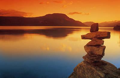 Inukshuk Photograph - Sunset Over Water, Shuswap Lake by Don Hammond