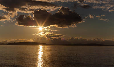 Seattle Photograph - Sunset Paddleboarder by Mike Reid