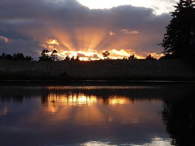 Sunset Rays Bursting Over Lake Bradley Art Print by Cindy Wright
