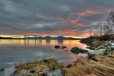 Sunset Reflecting Water,clouds, Sandnessund Bridge Art Print by Bernt Olsen