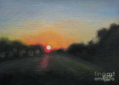 Print featuring the painting Sunset Road by Jindra Noewi