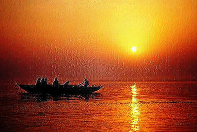 Goan Artists Digital Art - Sunset Rowing by Piety Dsilva