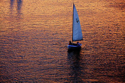 Charles River Photograph - Sunset Sailing by Rick Berk