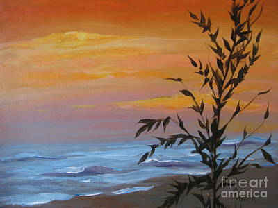 Art Print featuring the painting Sunset Sea Oats by Gretchen Allen