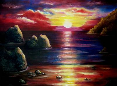 Sea Painting - Sunset Seascape 2 by Joni McPherson
